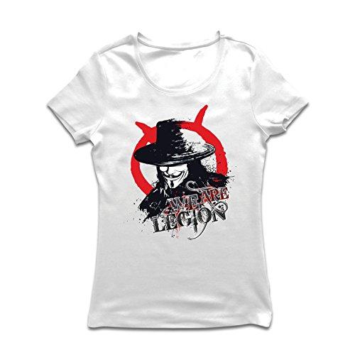 lepni.me Frauen T-Shirt Wir sind Legion - Vendetta - Die Maske von Anonym (Medium Weiß Mehrfarben)