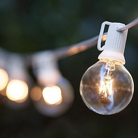 Noza Tec Outdoor Globe String Lights,25Ft G40 Clear Bulb String Light for Indoor Outdoor Decor Garden Patio Backyard Bedroom Wedding Christmas Party (28 Bulbs,White