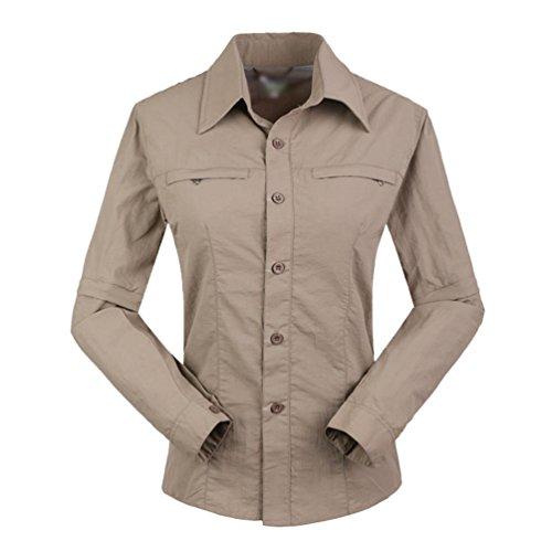 Yuanu Sommer Outdoor Reine Farbe Entfernbar Schnell Trocknend Hemden/Hosen, Herren/Damen Langarm Revers Hemd und Umwandelbar Zip Off Hosen Damen Hemden Khaki S (Lieblings-khaki)