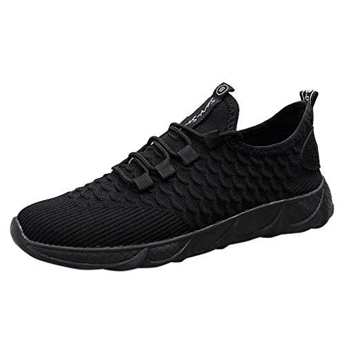 LILIHOT Herren Socken Schuhe leichte atmungsaktive Fliegende gewebte Sportschuhe Schnürschuhe Turnschuhe Laufschuhe Bequeme ultraleichte Freizeitschuhe rutschfeste Mode Netzschuhe