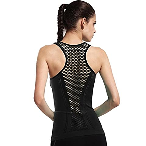 Wgwioo Women'S Active Racerback Athletic Sports Mesh T-Shirt Long Yoga Crop Tank Tops (Paquet De 2) . Black . 2