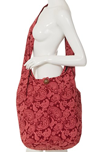 ThaiUK Damen Hippie-Tasche mit Schulterriemen, Boho-Stil, 100 % Baumwolle Paisley 2 Rose