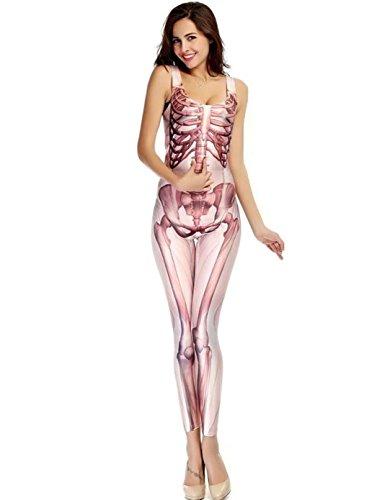DuuoZy Damen-Skeleton Druck Sexy Jumpsuit Halloween Cosplay Catsuit Tanz-Kostüm , f , light powder (Lycra Skelett Kostüme)