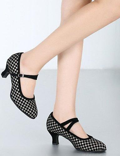 ShangYi Chaussures de danse ( Autre ) - Non Personnalisables - Talon Cubain - Cuir / Cuir Verni - Latine / Jazz black and sliver