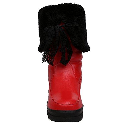 Femmes Flatform Neige Rouge Rond ENMAYER Dentelle Bottes Croissante Avec PU Bout Ladies Hauteur 8zS1Hwdq