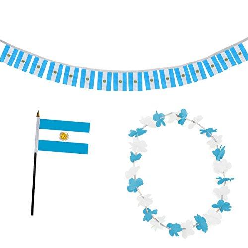 Sonia Originelli Fan-Paket-9 WM EM Fußball Fan Girlande Mini Flagge Hawaiikette Farbe Argentinien