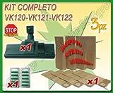 SPAZZOLA CON RUOTE 8 SACCHI 10 PROFUMINI ASPIRAPOLVERE FOLLETTO VK 120 121 122