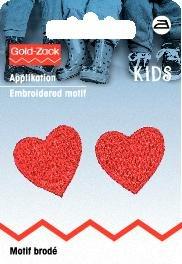 Applicazione termoadesiva, piccoli cuori, rosso