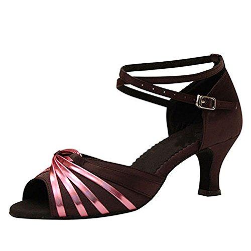 YFF Regalo donne danza scarpe ballo latino ballo tango danza scarpe 7CM Black