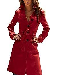 Zicac Damen Trenchcoat Lange Mental Coat mit Gürtel und Taschen Übergangsjacke