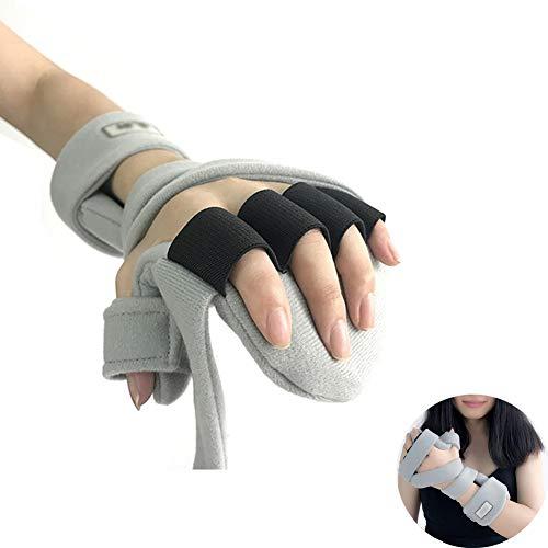 AMhuui Weiche ruhende Hand, Fingerschiene für Karpaltunnel, Handgelenk-Bruch-Anschlag-Rehabilitations-Griffbrett-justierbares Furnierholz, Daumen-Fixateur, Stützschmerz-Sehnenentzündung,Right -