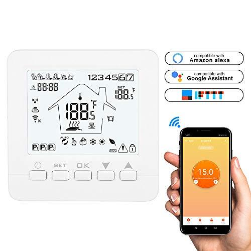 Konesky WiFi Smart Thermostat Programmierbarer Thermostat APP TUYA Controller für elektrische Wasser-Gas-Boiler Fußbodenheizung Arbeiten mit Alexa Google Home (Verwendet Gas-wasser-heizung)
