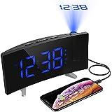 (Latest Version) Projection Alarm Clock, Pictek Alarm Clock, Radio Alarm Clock/Digital Alarm Clock/Large Display/Dimmer/Dual Alarm/4 Alarm, Snooze/Timer, 12/24Hour, USB Port, 120?? Projector 180? Flip display.