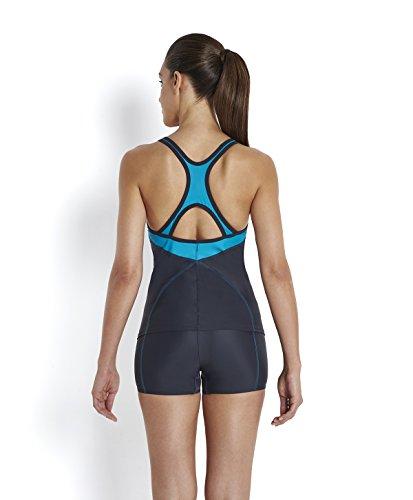 Speedo Damen Tankini Fit Kickback Badeanzug grau - Oxid Grey/Aquarium/White