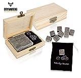 Brynnberg Cubitos de Hielo de Granito Reutilizables Naturales - 9 Piezas de Piedras de Whisky (Set con Caja)