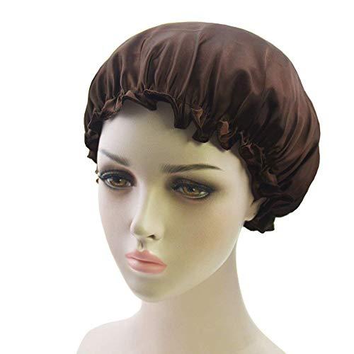 Headwear Damen Sleep Cap Satin Night Bonnet Kopfbedeckung Beanie Hut Einfach Zu Kombinieren Haar Elastic Chemotherapie Schlafmütze (Color : Kaffee, Size : One Size)