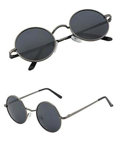 CGID Retro Vintage Sonnenbrille, inspiriert von John Lennon, polarisiert mit rundem Metallrahmen, für Frauen und Männer E01