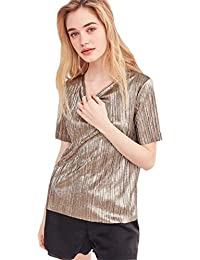 American Street Estilo Brillo Metalizados con Rayas Manga Corta T-Shirt Camiseta Playera Tee Top Dorado