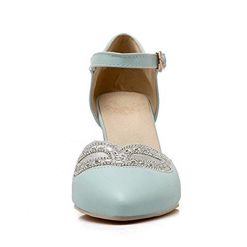 AgooLar Femme Pointu Boucle Pu Cuir Mosaïque à Talon Haut Chaussures Légeres Bleu
