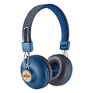 House of Marley Positive Vibration 2 Wireless - Bluetooth On-Ear Headphones, Noise Isolating, Premium Sound 50mm Drivers, Integrated Mic, USB Charging, Enhanced 10hrs Battery Life - Denim