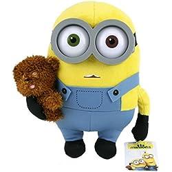 Muñeco de peluche de Los Minions, diseño de Bob con oso, 28 cm