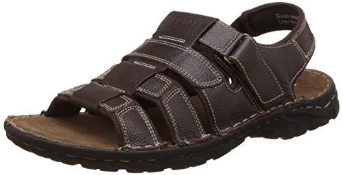 Red Tape Men's Brown Leather Sandals and Floaters - 8...