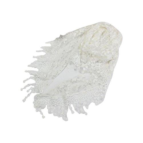 Kanpola Damen Schals Spitze Troddel bloße Burnout Blumendruck Dreieck Mantilla Halstücher Umschlagtücher (Weiß) (Burnout-schal)