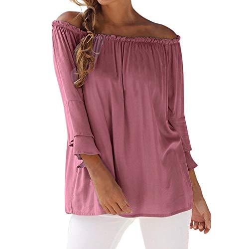 (Sommer Oberteile Damen Schulterfrei Flare Sleeve Bluse, Sexy Wort-Schulter-Tops für Damen, Mädchen beiläufige elastische T-Shirts Mode Hemd)
