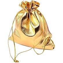 25a9a568b PandaHall- – Juego de 200 bolsas de organza para joyas, dorado, 10 x