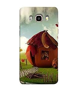 PrintVisa Designer Back Case Cover for Samsung Galaxy J7 (6) 2016 :: Samsung Galaxy J7 2016 Duos :: Samsung Galaxy J7 2016 J710F J710Fn J710M J710H (Colourful Pumpkin Hut And The Green Fields)