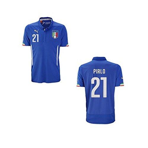 Puma- Maglia ufficiale della nazionale italiana da bambino, versione 2014/2015, con scritta Pirlo 21, 152