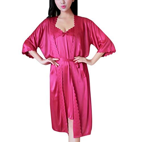 Silk Temptation Dessous Nachtwäsche Damen Sling Kleid Lange Robe Pyjamas Unterwäsche Nachthemdbe Pajamas Underwear Nightdress ()