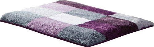 Erwin Müller WC-Vorlage ohne Ausschnitt, rutschhemmend aubergine Größe 50x50 cm - kuscheliger Hochflor, für Fußbodenheizung geeignet