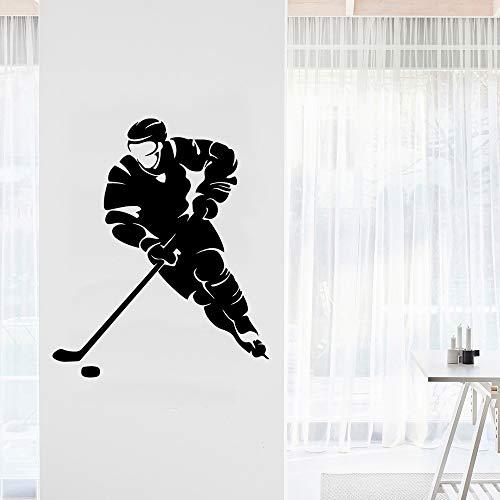 Exquisite spielen Eishockey wasserdichte Wandaufkleber Wohnkultur für Wohnzimmer Firma Schule Büro Dekoration Aufkleber schwarz L 43 cm x 51 cm
