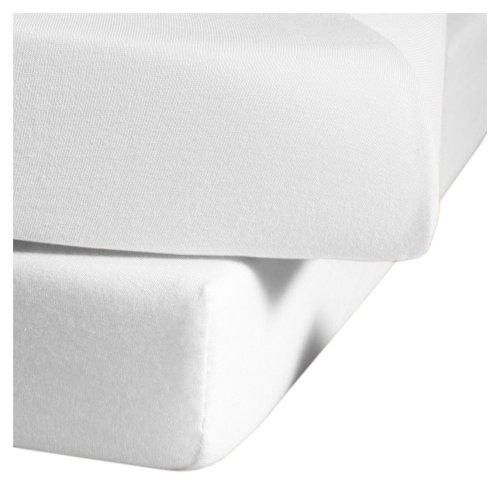 fleuresse Spannlaken 1115-1000, 100/200 cm Jersey, Farbe Weiß, 100% Baumwolle - Jersey-material Bettbezug
