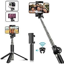 Babacom Perche Selfie, Selfie Stick Trépied Bluetooth Rétractile avec Télécommande Amovible, Monopode pour iPhone XS Max/XR/XS/X / 8 Plus, Galaxy Note 9 / S9 Plus, GoPro Caméras