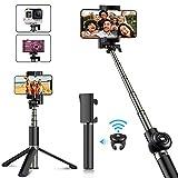 Babacom Selfie Stick Stativ Verstellbare Selfie-Stange Stab mit Bluetooth-Fernauslöser Kompaktes Monopod für iPhone XS Max/XS/XR/X/8 Plus/7 Plus, Galaxy Note 9/S9 Plus/Note 8, GoPro Kameras (schwarz)