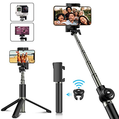 Babacom Bastone Selfie, Selfie Stick Treppiede Bluetooth Estendibile con Telecomando Wireless Removibile, Monopiede Compatto per iPhone XS Max/XR/XS/X / 8 Plus / 7 / 6S, Galaxy Note, Fotocamere