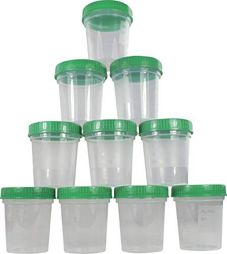 Urinbecher 125 ml + Schraubdeckel Farbe: Grün Urinprobenbecher Urin Becher Kunststoffbecher von Medi-Inn (Menge: 10 Stück)