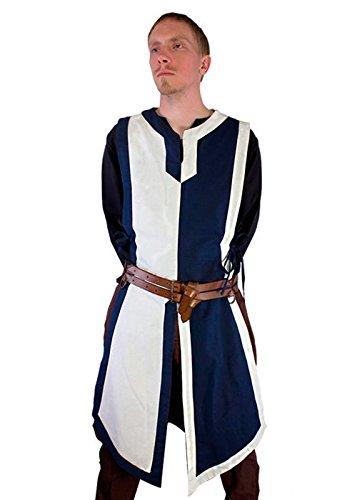 Kostüm Mittelalterlichen Ritter Blau - Schlichter mittelalterlicher Wappenrock LARP Herrenkostüm Waffenrock Ritter Wikinger verschiedene Farben XXXS - XL (L/XL, Blau/Weiß)