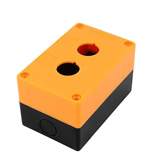 Plastic Dual-Tasten-Schalter Control Station Box w Schrauben Schwarz Gelb Taste Control Station