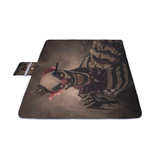 EIJODNL Evil Scary Clown Monster Picknickmatte 140 cm x 200 cm (57 '' x 79 '') Picknickdecke Strandmatte mit wasserdichter für Kinder Picknickstrände und im Freien gefaltete Tasche