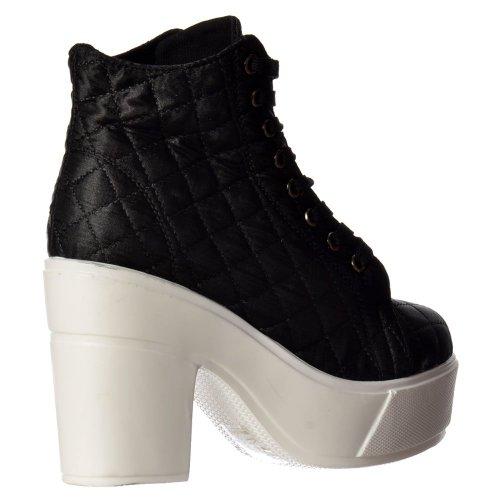 Rihanna Onlineshoe Donna Stringate Pompe Di Avvio Piattaforma Alta Cuneo Caviglia Nero