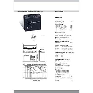 Powery Batterie de remplacement pour Panasonic LC-X1220P / Varta 519901 12V 22Ah