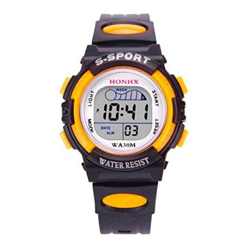 OdeJoy Wasserdicht Kinder Jungs Digital LEDSport Uhren Kinder Sportlich Handgelenk Uhr Fashion Smart Watches Schüler Quarzuhr Jungen Armbanduhr Wasserdicht Uhren (Gelb,1 PC)