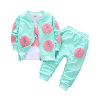 Gyratedream Baby Girl Clothes T-Shirt Jacket Pants 3Pcs Clothing Sets Casual Tracksuits Long Sleeve Tops + Trousers + Outwear for 0-4 Years Kids Girls