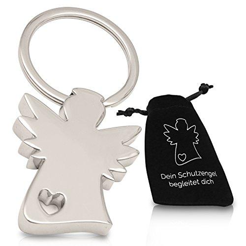 Edler Schutzengel Schlüsselanhänger im Samtbeutel - Engel Herz Anhänger silbern fürs Auto und als Geschenk für Frauen und Männer - Gute Fahrt