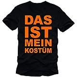 DAS IST MEIN KOSTÜM - last minute KARNEVAL KOSTÜM Fasching T-Shirt schwarz-orange, XL