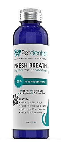 Petdentish Hund Zahnpflege Süßwasser-Additiv Zahnsteinentferner für Hunde Zahnreinigung Mundhygiene Lufterfrischer für Zahnfleisch Zahnfleischentzündung Parodontitis und Katzen Hund Mundgeruch- 500ml