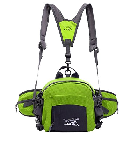 lethigho Fashion Wasserdicht Taille Pack mit Wasser Flasche Halter Multifunktional outdoor Sport Hüfttasche Reisen Schultern Rucksack für Reit Laufen Wandern Radfahren Klettern Camping Grün